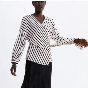 Zara Cream Wrap Blouse Polka Dot & Stripes Medium